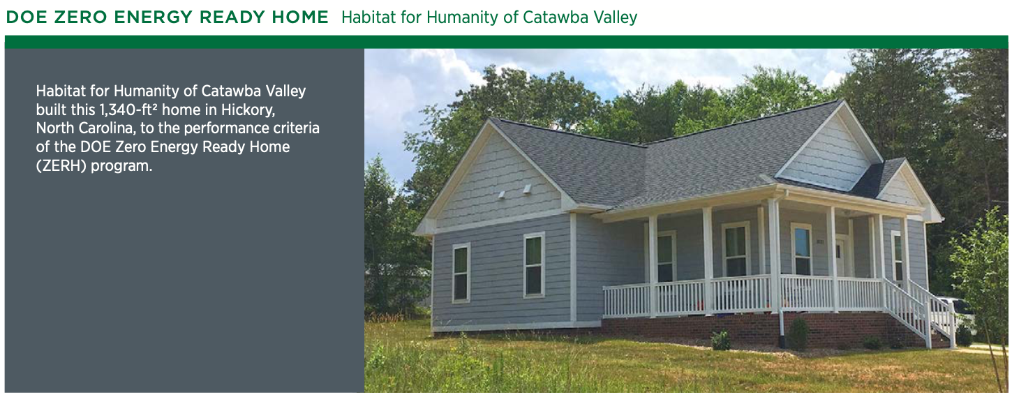 A picture of Habitat for Humanity's grey modest net zero energy home in Catawba, North Carolina.