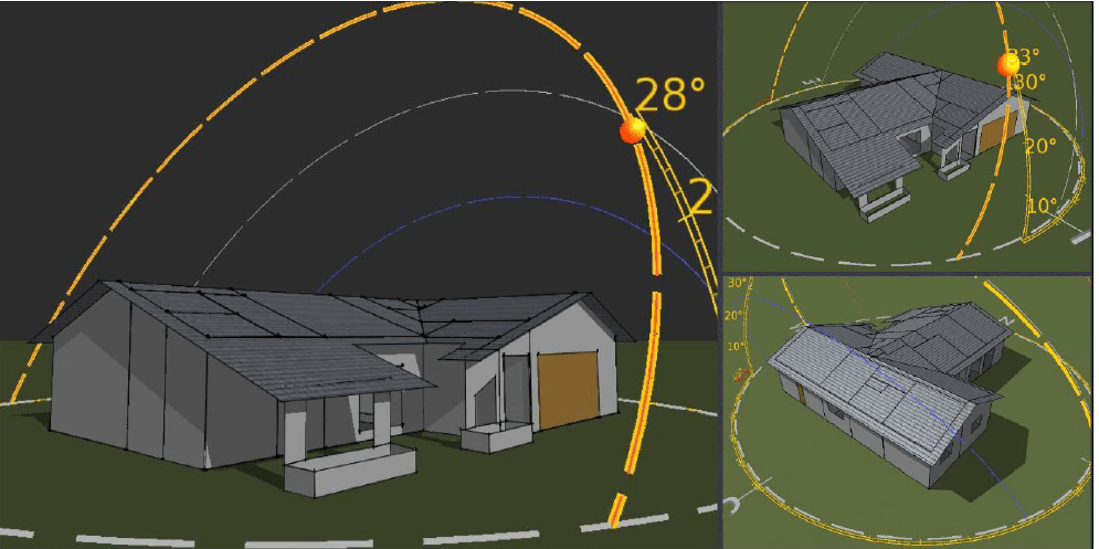 A picture of our net-zero solar home modeled in 3D showing the sun's travel throughout the year.