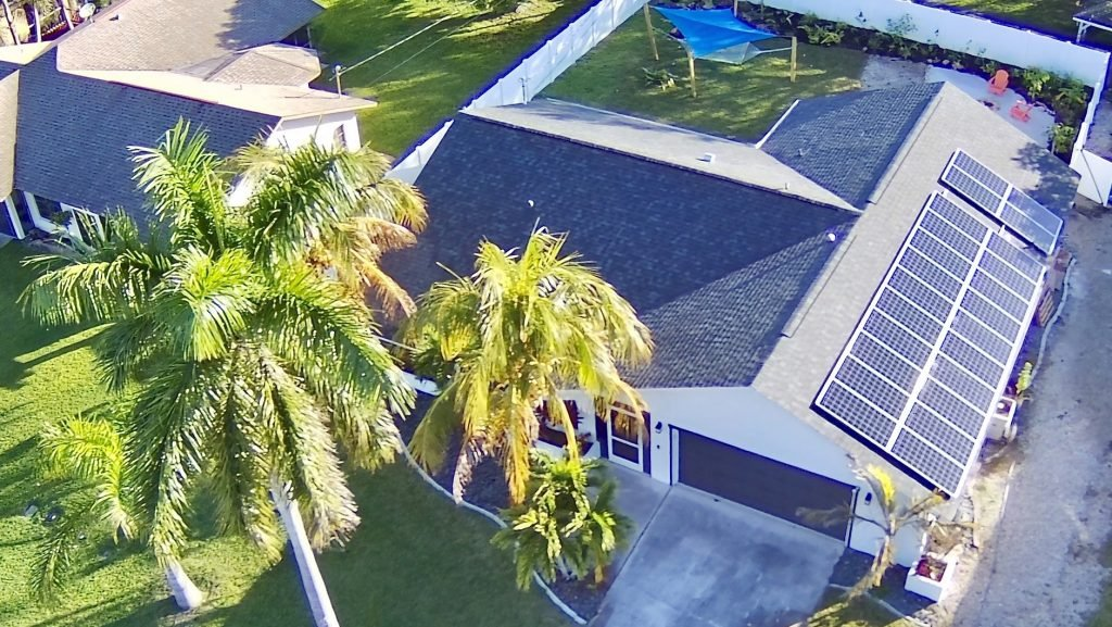 A drone shot of our first net-zero solar home renovation project in Cape Coral, FL.