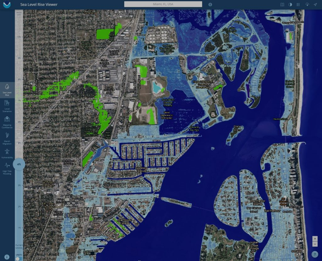 A topographical map of estimated sea level rise intrusion on the Miami area.