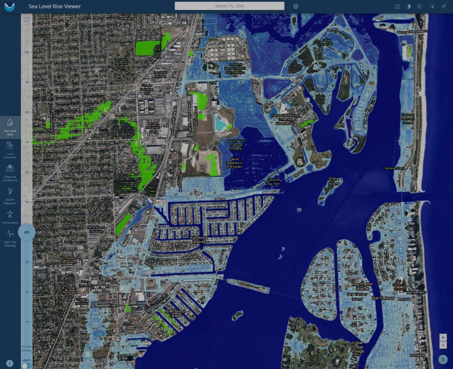 A topographical map of estimated sea level rise intrusion on the Miami area.