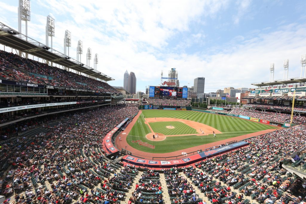Photo of stadium and city skyline of Cleveland, Ohio.
