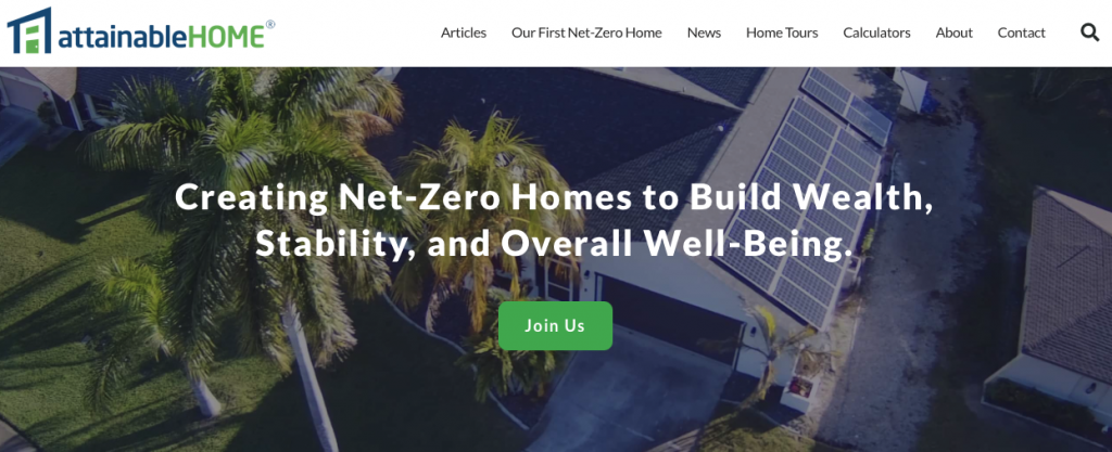 A picture of Attainable Home's homepage for our Top 15 Green Building Resources article.