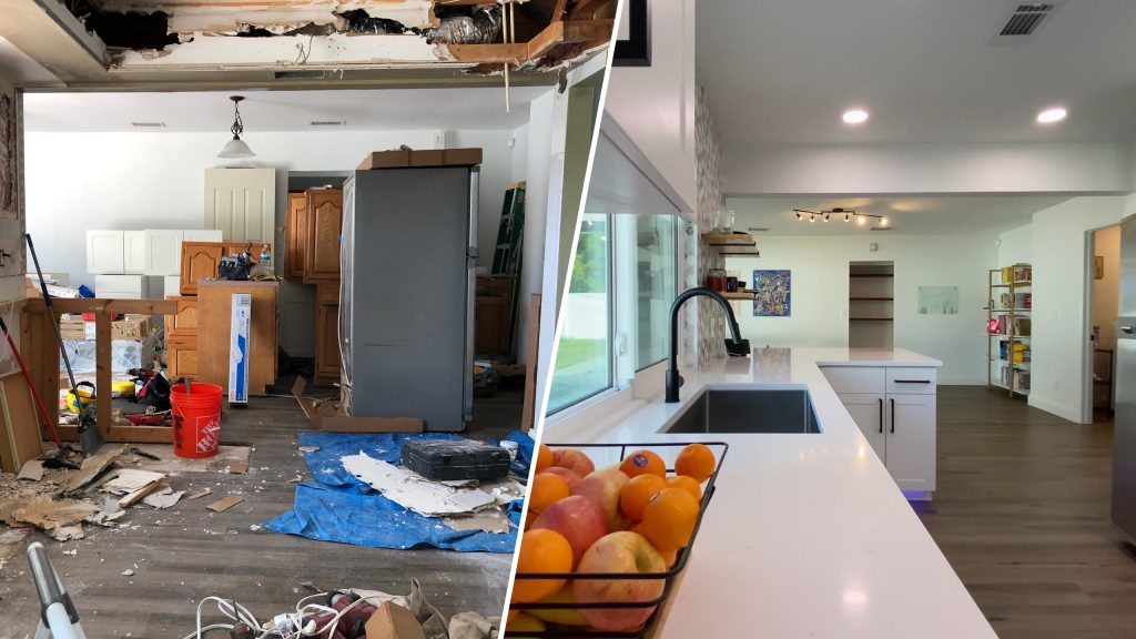 A before and after split picture, with the left side showing a kitchen that is torn apart, with open walls and debris on the floor. The right side shows the finished kitchen, with white countertops, white cabinets, and black sink and cabinet hardware.