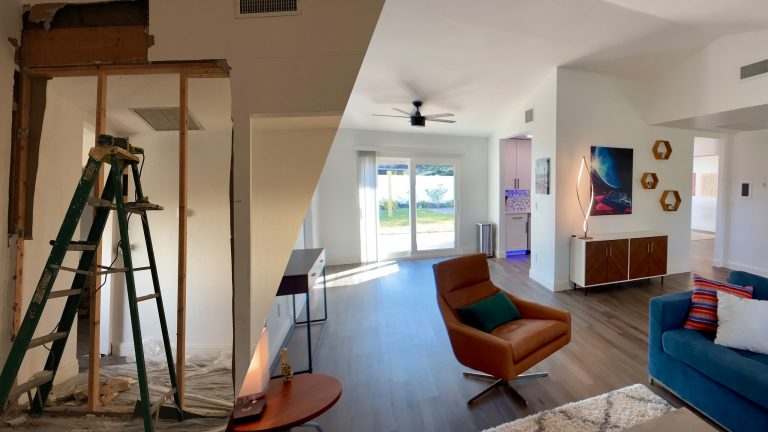 A split image showing a ladder, busted drywall, and a dark dusty living room on the left. On the right side is our finished net-zero home renovation project living room, with mid century modern furniture, bright white walls, and an open concept.