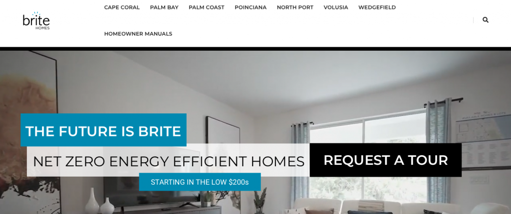A screenshot of the Brite Homes homepage, showing their logo, top menu, and tagline.