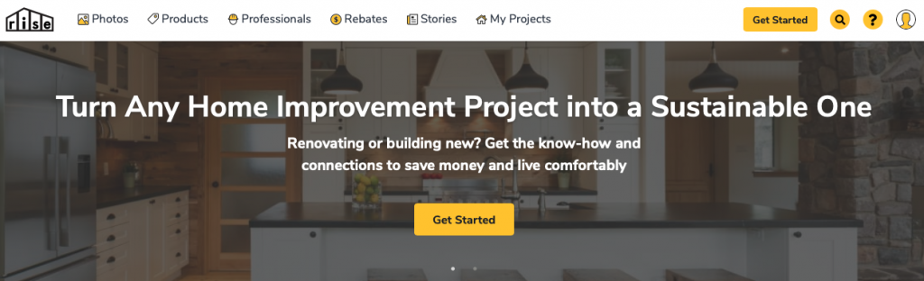 A picture of Rise's homepage for our Top 15 Green Building Resources article.