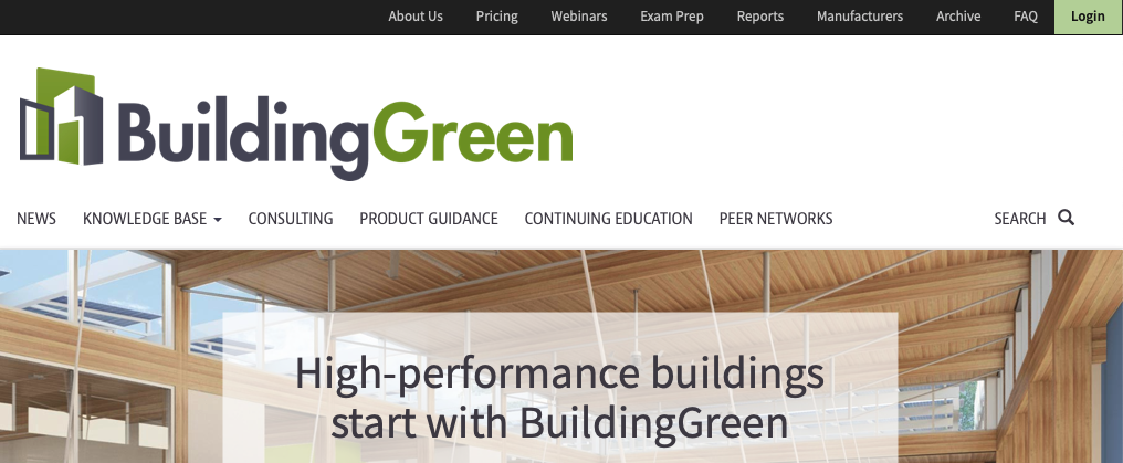 A picture of Building Green's homepage for our Top 15 Green Building Resources article.