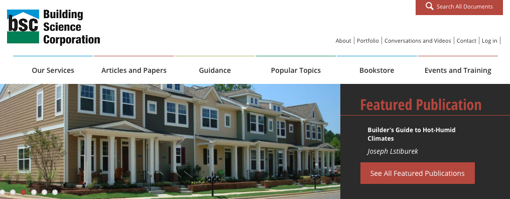 A picture of Building Science Corporation's homepage for our Top 15 Green Building Resources article.