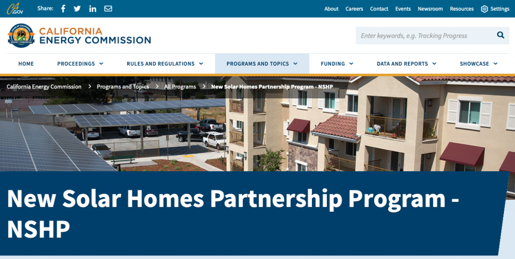 A picture of the California New Solar Homes Partnership Program homepage, showing an apartment building with lots of solar panels use as carports.