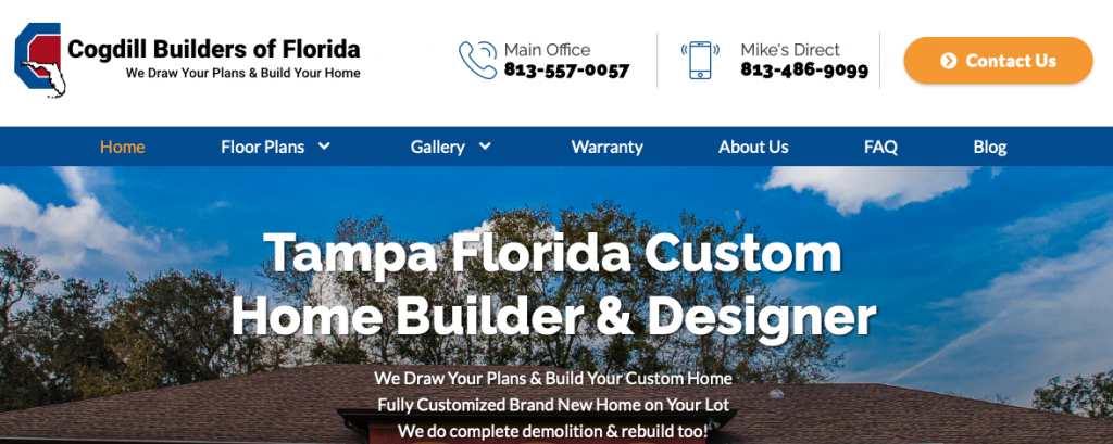 A screenshot of the Cogdill Builders of Florida homepage, showing their logo, top menu, and tagline.