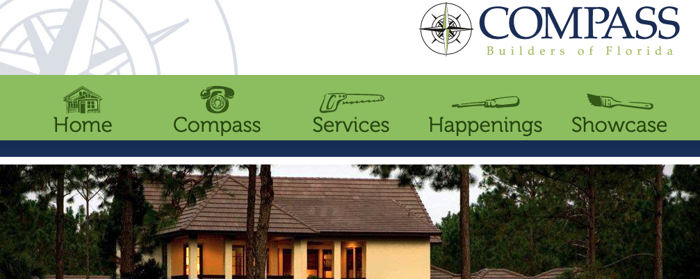 A screenshot of the Compass Builders of Florida homepage, showing their logo, top menu, and tagline.