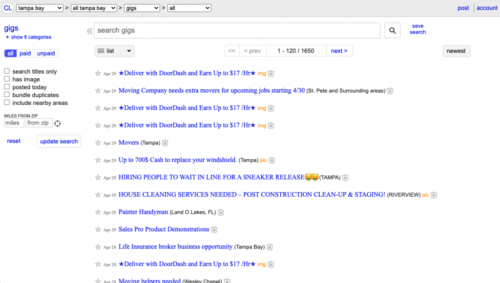 """A screenshot of the Craigslist """"gigs"""" section showing listings of the different contractors in your area."""