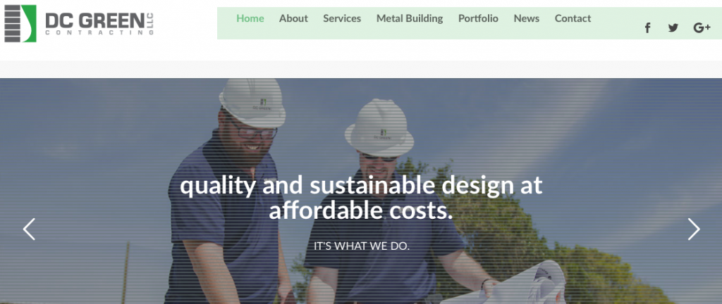 A screenshot of the DC Green Contracting homepage, showing their logo, top menu, and tagline.