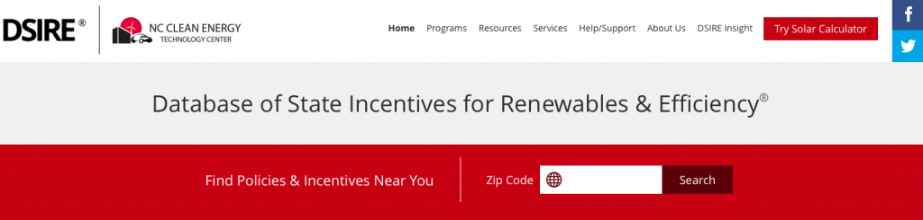 A screenshot of the DSIRE Renewables homepage.
