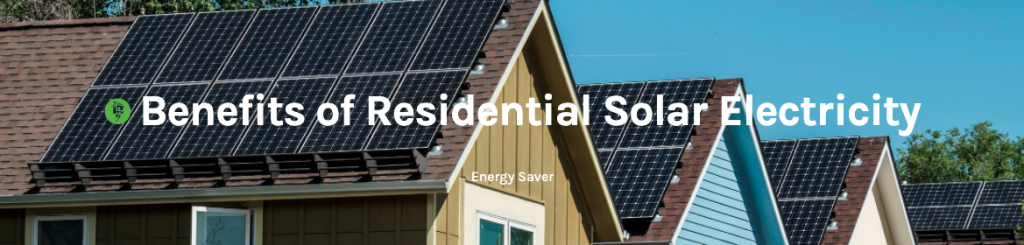 A picture of three houses with solar on them reading Benefits of Residential Solar Electricity, which links through to the DOE Renewable Energy Resources page.