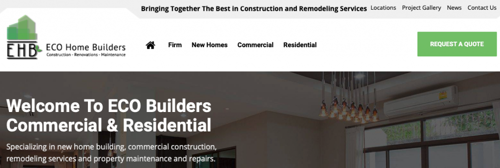A screenshot of the ECO Home Builders homepage, showing their logo, top menu, and tagline.