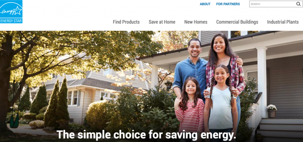 A picture of Energy Star's Homepage for our Top 15 Green Building Resources article.
