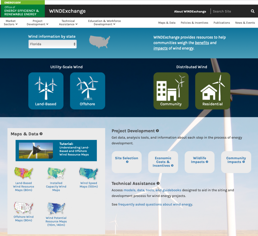 A screenshot of the WINDExchange homepage showing different USA map types where you can see wind speed, wind turbine locations. It features a drill-down by State and local areas so you can check your own location.