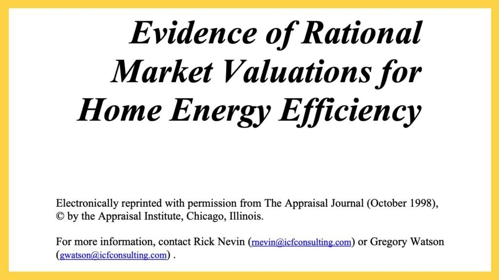 A picture of the original article front page of Evidence of Rational Market Valuations for Home Energy Efficiency by Nevin & Watson.