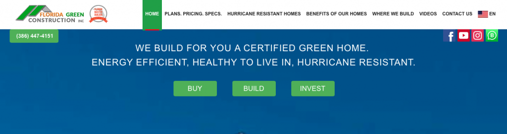 A screenshot of the Florida Green Construction Inc. homepage, showing their logo, top menu, and tagline.