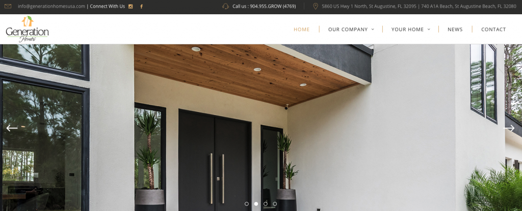 A screenshot of the Generation Homes homepage, showing their logo, top menu, and tagline.