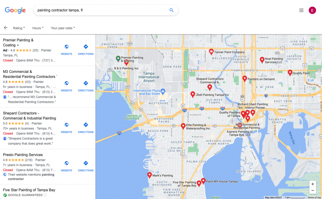 A picture of Google Maps displaying many contractors to search for on the left side panel, and a map on the right with locations of the different companies shown.