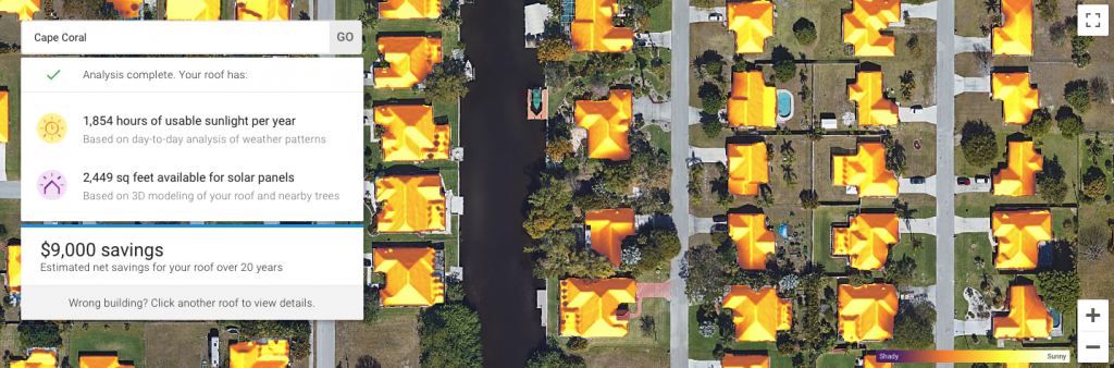 Google's Project Sunroof Showing Solar Shading Throughout the Year in Cape Coral, FL, where we have our net-zero home renovation project.