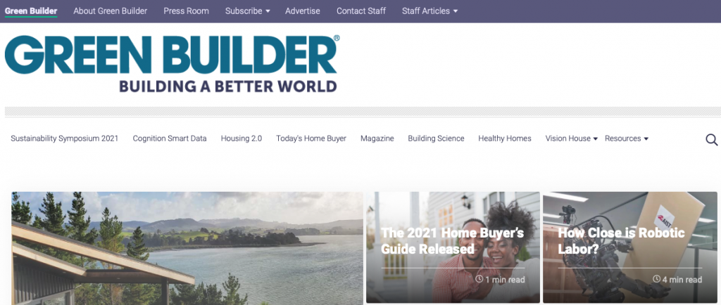 A picture of Green Builder Media's homepage for our Top 15 Green Building Resources article.