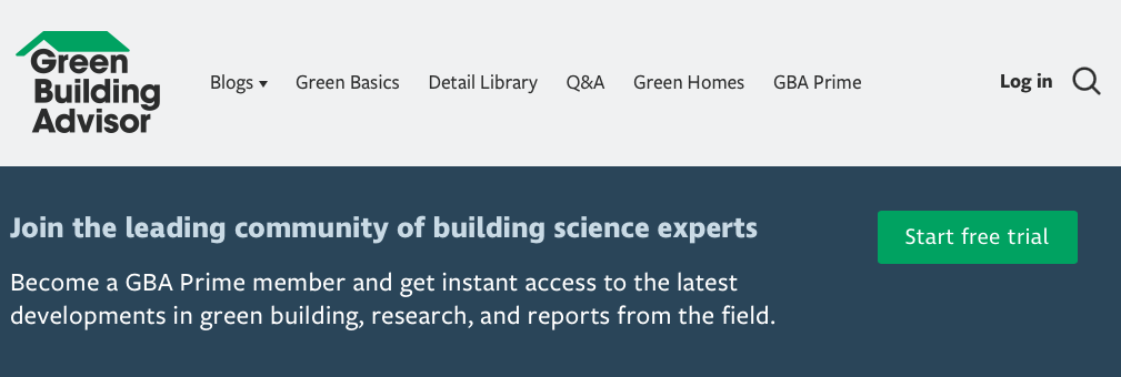 A picture of Green Building Advisor's homepage for our Top 15 Green Building Resources article.