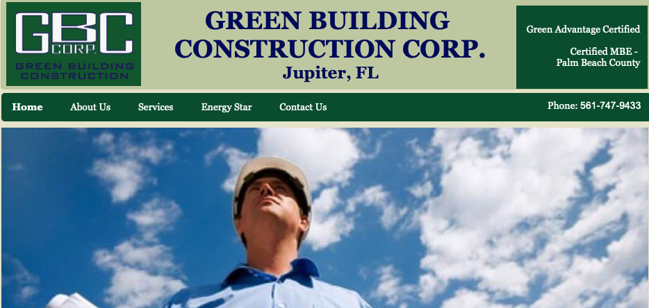 A screenshot of the Green Building Construction Corp. homepage, showing their logo, top menu, and tagline.