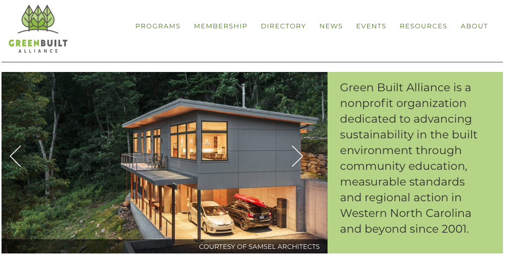 A picture of Greenbuilt Alliance's homepage for our Top 15 Green Building Resources article.