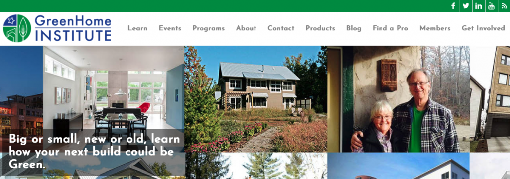 A picture of GreenHome Institute's homepage for our Top 15 Green Building Resources article.