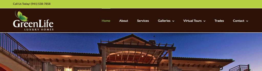 A screenshot of the GreenLife Luxury Homes homepage, showing their logo, top menu, and tagline.