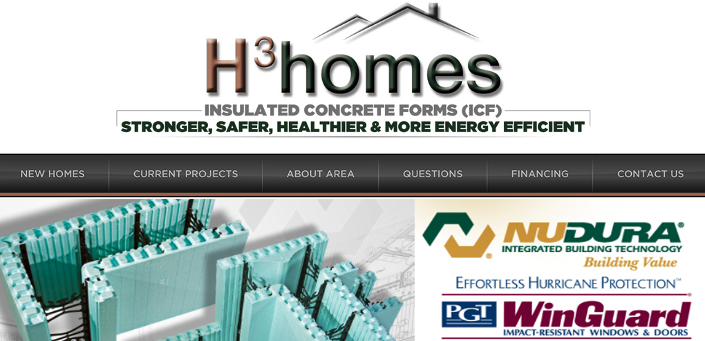 A screenshot of the H3 Homes homepage, showing their logo, top menu, and tagline.