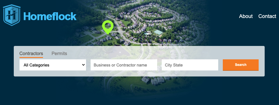 A screenshot of the Homeflock homepage, showing dark blue background and an arial shot of a neighborhood with a pin drop on a house. On the foreground it shows a search bar where you can search for contractors in your area.