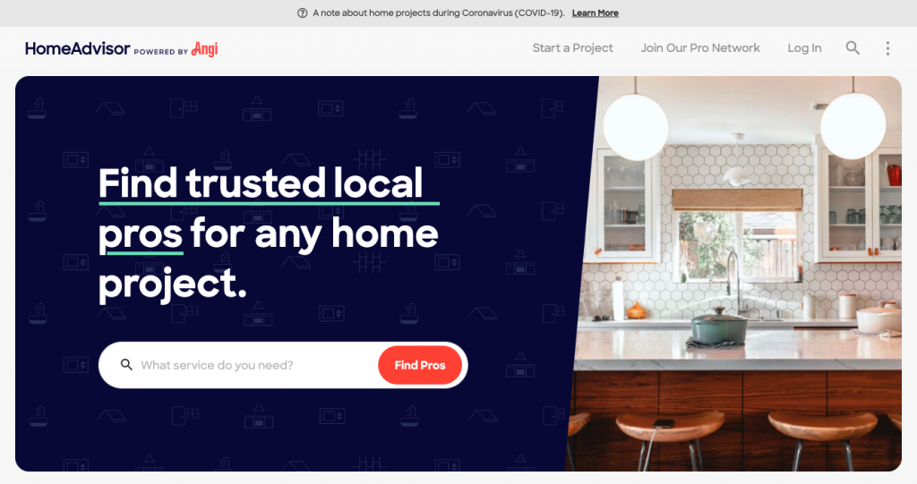 A screenshot of the HomeAdvisor homepage, showing a search bar on the left side, a picture of a nice white and wood-colored modern kitchen.