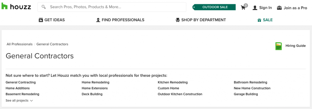 A screenshot of the Houzz homepage showing many links for Get Ideas, Find Professionals, Shop by Department, and a list of different categories of contractors you can search for.
