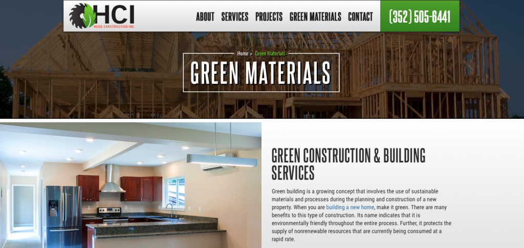 A screenshot of the Hudd Construction Inc. homepage, showing their logo, top menu, and tagline.