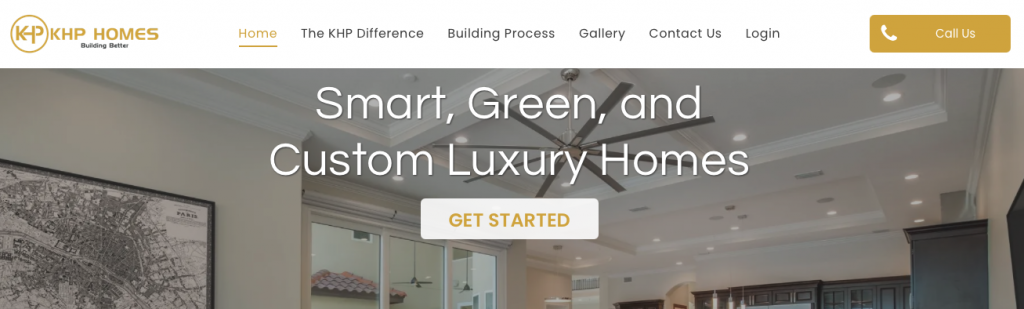 A screenshot of the KHP Homes homepage, showing their logo, top menu, and tagline.