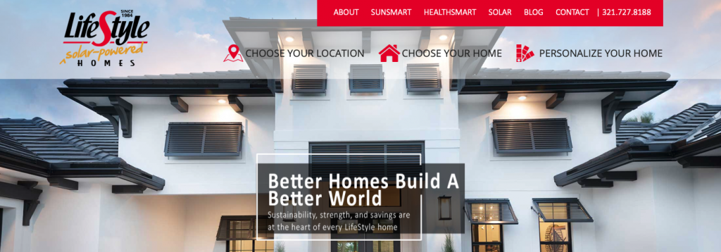 A screenshot of the LifeStyle Solar Powered Homes homepage, showing their logo, top menu, and tagline.