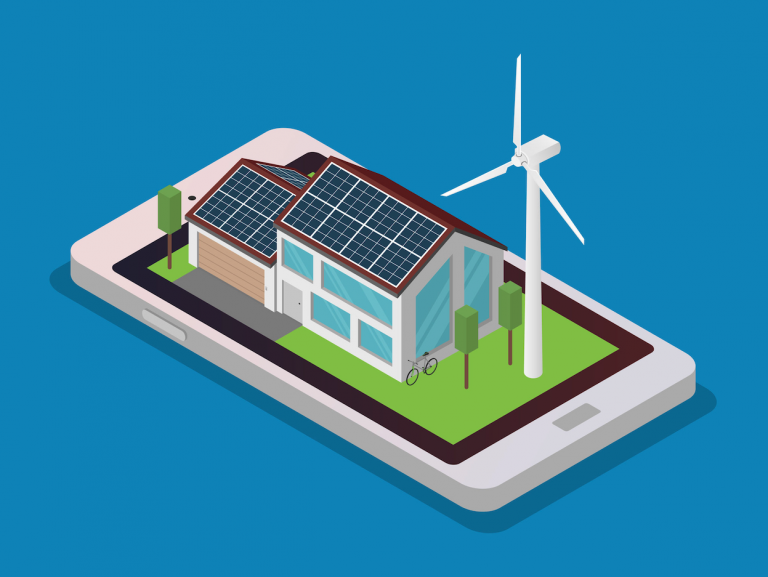 A cartoon picture of a modern house with solar panels on the roof, a wind turbine next to it, and the outline around the house is actually an iPhone.