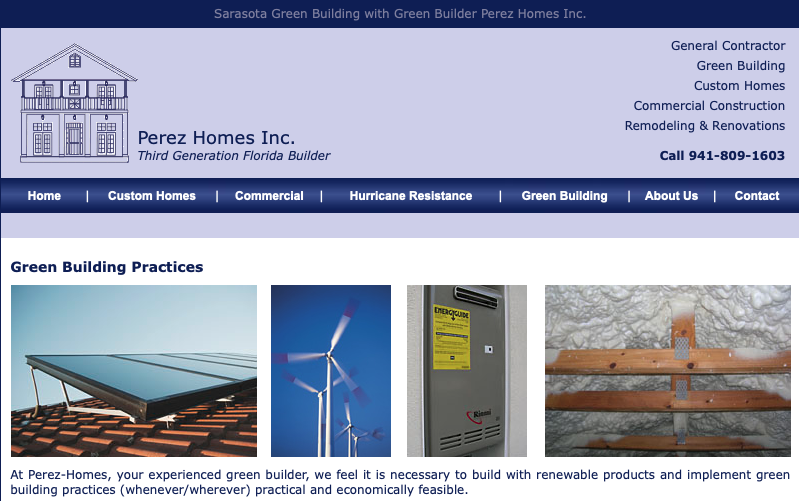 A screenshot of the Perez Homes Inc. homepage, showing their logo, top menu, and tagline.