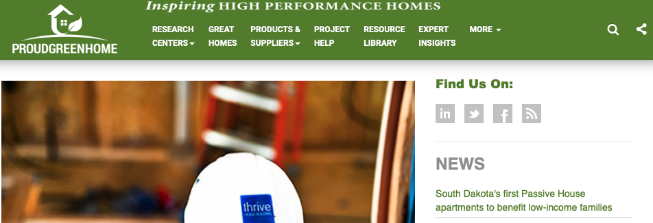 A picture of Proud Green Home's homepage for our Top 15 Green Building Resources article.