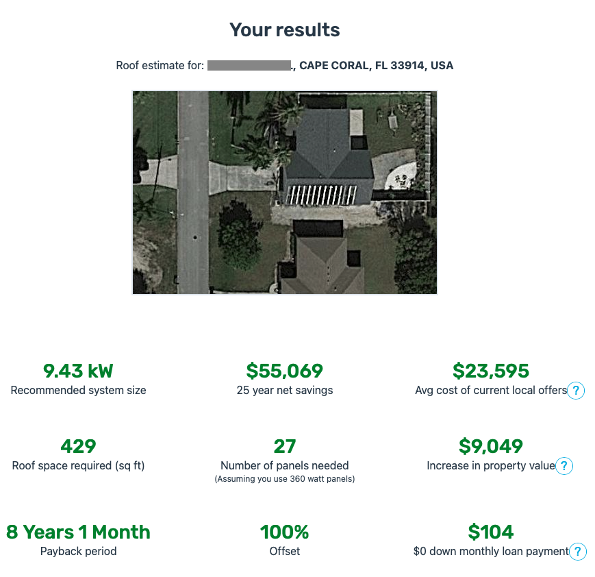 A screenshot of the results from the Solar Reviews AI solar calculator link, showing our net-zero home renovation project with simulated solar panels on the roof, along with all the calculations.