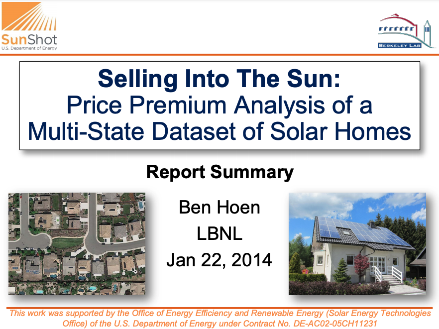 A picture of the front page of the presentation of Selling Into The Sun Price Premium Analysis of a Multi-State Dataset of Solar Homes by Ben Hoen.