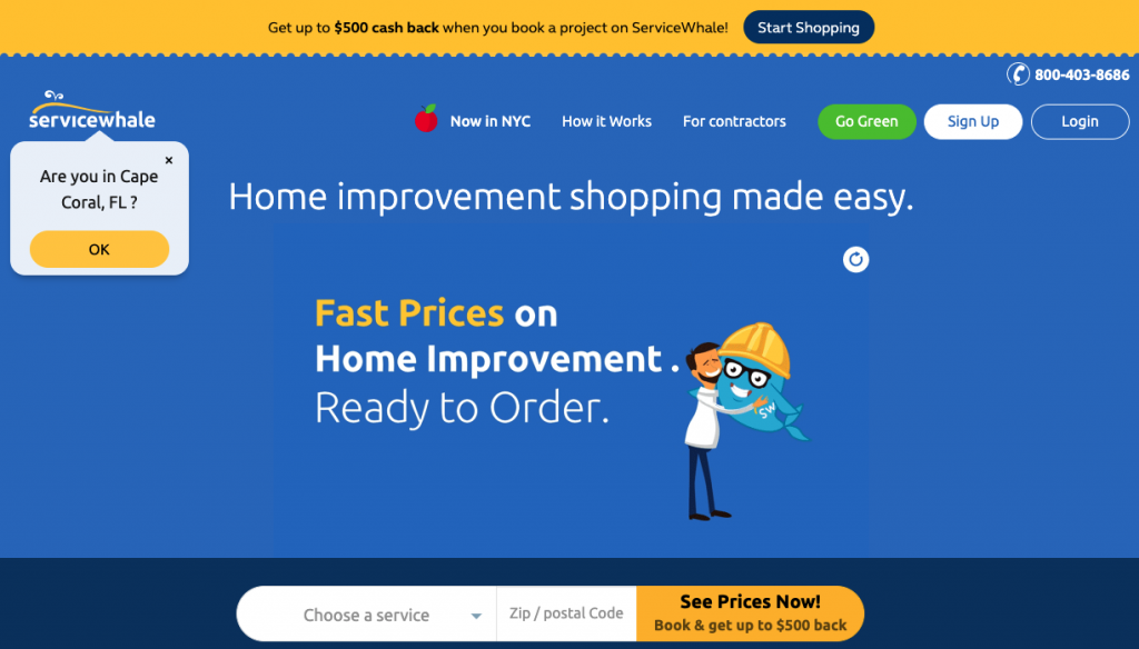 """A screenshot of the ServiceWhale homepage, showing a search bar at the bottom where you can search for contractors in your area. It has dark blue background with a headline title """"Home improvement shopping made easy."""""""