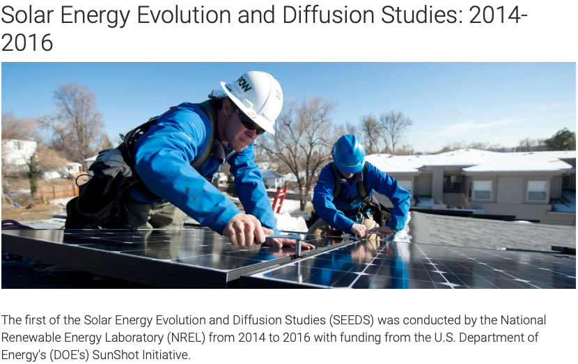 A picture of two men installing solar panels on the roof of a house. This screenshot is taken from the NREL Solar Energy Evolution and Diffusion Studies 2014-2016.