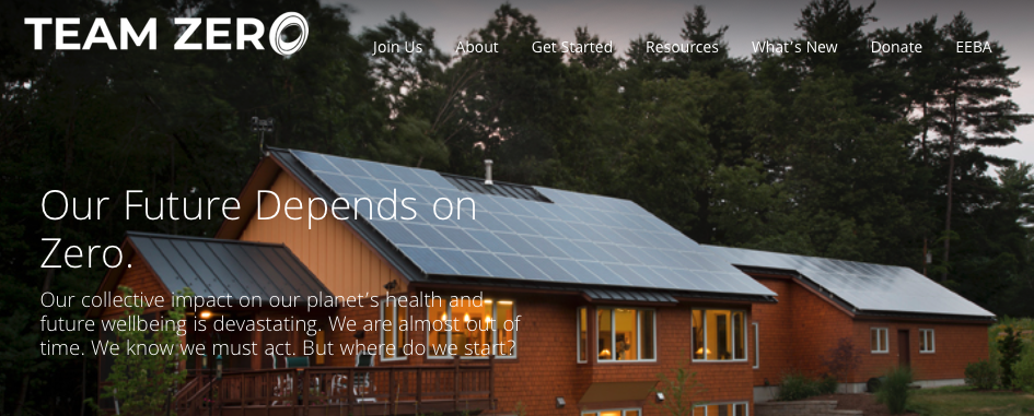 A picture of Team Zero's homepage for our Top 15 Green Building Resources article.
