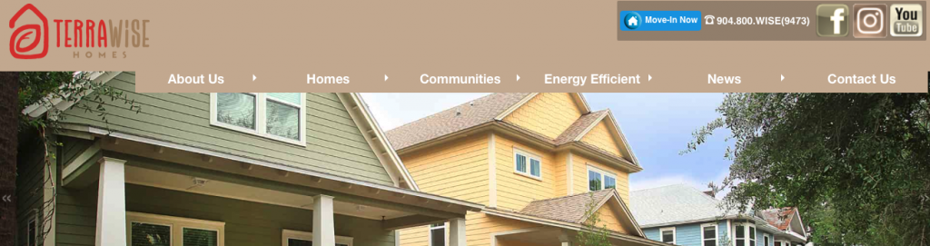 A screenshot of the TerraWise Homes homepage, showing their logo, top menu, and tagline.